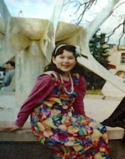 Here's 11-or-12-year-old Nerija at a Halloween event in the library park.  Apparently I was an island girl that year.