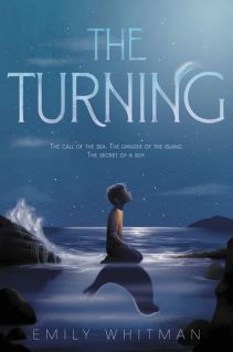 """The cover of """"The Turning,"""" by Emily Whitman. A naked boy kneels at the edge of the sea, looking up at the moon. His shadow/reflection is an upside-down seal."""
