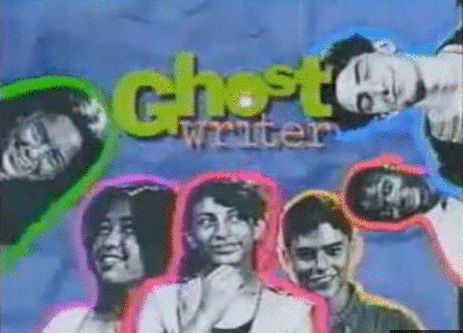 Ghostwriter logo: bright blue background with green text, surrounded by headshots of Lenni, Tina, Gaby, Alex, Jamal, and Rob