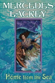 Cover of Home From the Sea, by Mercedes Lackey. Background: Blue-green underwater scene with blue mermaids and seals. Inset: A woman with pale skin and long, dark hair stands in a small, round wooden boat, in the middle of a stormy sea. She is wearing a tartan-plaid skirt and shawl over a dark blue blouse. She clutches an oar in one hand and holds up a water sprite in the other: a creature that's mostly fish, but with wings and human arms.