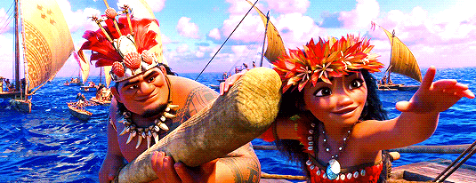 A scene from Disney's Moana, in which Moana guides her people on a new voyage across the ocean.