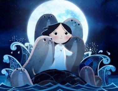 Cropped poster for the animated movie Song of the Sea. A girl with flowing, dark hair stands on a rock in the middle of the sea, surrounded by seals. An enormous full moon shines behind them.
