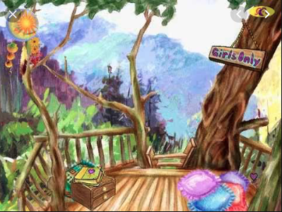A watercolor scene showing a simple treehouse -- that is, a wooden platform with a low surrounding fence -- in the canopy of a forest with a blue and purple mountain in the background. There is a dreamcatcher in the upper left corner, with a sun and moon in the hoop, and feathers and flowers hanging down. In the upper right corner is a sign that says Girls Only. There is a wooden chest with two drawers on the left side of the platform, and a scrapbook on top. There are multicolored throw pillows arranged around the platform.
