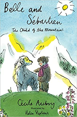 The cover of Belle and Sebastian, the children's book by Cecile Aubry. The cover shows a simple color illustration of a little boy with short brown hair, wearing a gray sweater and pants, with a red scarf. He is standing with his right arm petting a large white dog, who is looking at him with a neutral expression. They are standing on a green hill, with a pink foxglove flower in the foreground. Behind them are snow-covered mountains with sunny yellow highlights. The sky is blue, with a small sun in the upper right corner.
