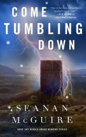 Cover of Come Tumbling Down. A green moor under a deep blue sky, with a giant bolt of lightning striking down the middle, branching out around a closed wooden door. The door has vertical wooden panels, a horizontal iron bar near the top, and two iron circles on top of the bar.