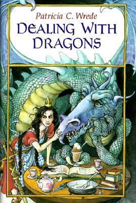 Hardcover version of Dealing With Dragons. A scaly green dragon, with a longer, even more horselike head and three curved horns, lounges by a round table covered with a teapot, two tea cups, a book, and a chalice of chocolate mousse. A girl with two messy braids and a very small crown pats the dragon's snout and looks with a smug or annoyed expression to the left. She's wearing a red work dress with a blue and white checkered apron.