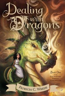 Dealing with Dragons e-book cover. Dark orange background with wispy, white curls of smoke. The head of a giant green dragon appears in the foreground, like a horse's head with four spikes on the back of the head and multiple horns on the face. A comparatively very small girl sits on the dragon's choulder. She has shoulder-length bushy dark hair held back by a gold tiara, and she wears a simple white tunic-dress with a gold belt and gold necklaces.