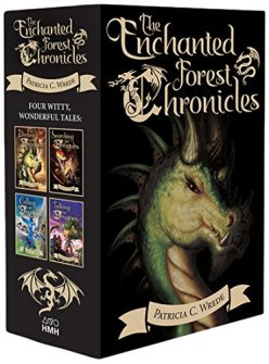 A black box set of the Enchanted Forest Chronicles, featuring the four book covers on the spine and an image of a green dragon's head on the front. The dragon is staring at the viewer with a narrowed eye. She has about five wide spikes curving from the back of her head and three horns protruding from the front.