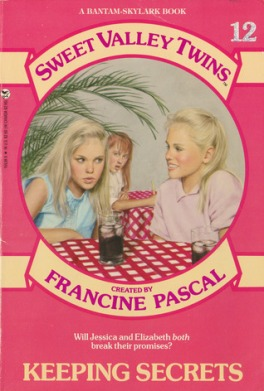 The cover of Sweet Valley Twins #12: Keeping Secrets. It's a salmon pink cover with a giant circle in the middle. Two manila-colored ribbons curve over the top and bottom of the circle, featuring the title of the series and the name of the creator, Francine Pascal. Inside the circle is a scene inside a pizza parlor. Two blond-haired girls sit at a table with a typical red and white checked cloth. The girl on the left has her lips pursed like she's hearing a scandalous secret. The one on the right is smiling secretively. Between them, you see a third girl sitting at another table. She has long red hair and has a shocked, nosy expression on her face.