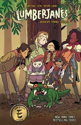 The cover of Lumberjanes vol. 12: Jackalope Springs Eternal. Five teenage girls and their cabin counselor stand, hunched, over a green creature that looks like a cross between a pug and a lizard. It has four manila-colored spikes on its back and two horns, one on either side of its head, plus two fangs, one on either side of its mouth. Its eyes are red and bug out on either side of its face.