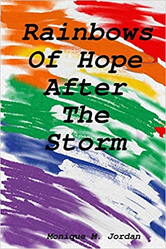 Cover of Rainbows of Hope After the Storm. The title is written in black typewriter letters, and the background is a series of diagonal watercolor streaks ranging from red at the top to purple at the bottom.