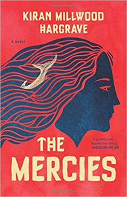 "Cover of The Mercies, by Kiran Millwood Hargrave. A dark blue profile of a woman's head against a red background. The woman's long hair flows like water behind her, and the white fluke of a whale rises out in the middle of the ripples. The author's name and title are in manila-colored font, and the T in ""The"" is written like an ancient rune, like an arrow pointing up."