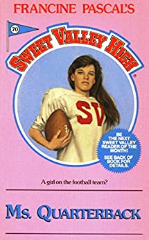 "The Pepto pink cover of SVH #70: ""Ms. Quarterback."" Inside the circle, a tough-looking girl stares brazenly at the camera, against a periwinkle-blue background. Her long, dark brown hair is draped over the left padded shoulder of her white SVH football jersey, covering the red ""H"" in ""SVH."" Her right arm is cradling a football just under her armpit. The tagline reads: ""A girl on the football team?"""