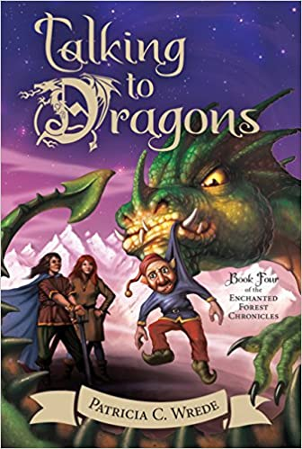 Cover of Talking to Dragons.  A dark green dragon's head glares angrily at an elf, who is dangling by the hood of his blue top from the dragon's mouth.  The elf has a pointy red hat and red pants, with pointed black shoes.  He has a dark beard, mustache, and pointed ears.  Looking on behind the dragon are a young woman with long red hair (her hands are on her hips) and a young man with long black hair (he's holding a sword point-down with both hands and his blue cape is flapping behind him.  In the background is a white mountain range tinted with hints of purple, beneath a purple sky.