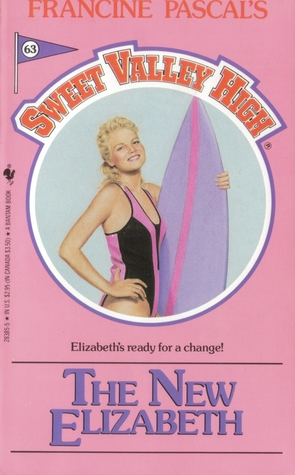 "Salmon-pink cover of SVH #63: ""The New Elizabeth."" Inside the center circle, Elzabeth poses proudly against a pale grey-blue background. She's wearing a black one-piece swimsuit with a few Pepto pink vertical stripes. Her right hand is on her hip, while her left arm is curved around a lavender surfboard with a vertical pink stripe down the middle. Elizabeth is grinning like a Sports Illustrated model, and her curly blond hair is pulled back with barrettes. The tagline under the circle reads: ""Elizabeth's ready for a change!"""