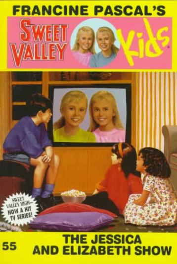 "Cover of Sweet Valley Kids 55: The Jessica and Elizabeth Show.  The background is neon yellow, and the series title has a new style.  The fonts are the same, but there's no big yellow circle behind the word ""Kids.""  Instead, there's a circle between ""Sweet Valley"" and ""Kids,"" with the twins' faces inside.  Jessica is on the left, with her hair down a usual, while Liz has her hair in a low ponytail.  Jess has a pink shirt and Liz has a blue one.  The rest of the cover shows a living room in which thre kids sit very close to a TV screen on which the same two twin faces look back at them, only Liz is on the left, wearing a chartreuse-green shirt, and Jess is on the right, still in pink."