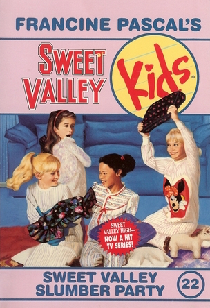 Cover of Sweet Valley Kids 22: Sweet Valley Slumber Party.  Four girls are having a pillow fight in a dark room, in front of a blue sofa.  Clockwise from the left: Elizabeth, Lila, Jessica, and Eva.  They all have white pajamas.  Liz, Jess, and Lila have long-sleeved dress pajamas, while Eva has a long-sleeved top and long pants, with horizontal grey stripes and red trim.  Jessica's pajama has a giant red heart with a warped face that almost looks like Minnie Mouse, but with only one eye.