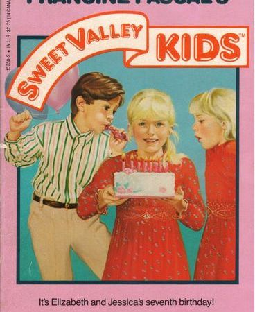"Cover of Sweet Valley Kids number one: Surprise! Surprise! A boy with dark brown hair, wearing a blue and white striped dress shirt over khaki pants, blows an inflatable party whistle at a girl with pale blond hair pulled back in a pony tail. The girl faces the audience, holding a round white birthday cake with eight candles (one is extra, for luck). She's wearing a red dress with long sleeves and tiny pink flowers all over it. To the right of this girl is an identical girl, only with her hair down. The second girl faces the first, puffing out her cheeks like she's going to blow out the candles. Above them, the title ""Sweet Valley Kids"" is shahped like a white banner with red letters; the ""Sweet Valley"" curves up in a quarter-circle, while ""Kids"" is horizontal. The tag-line says ""It's Elizabeth and Jessica's seventh birthday!"""