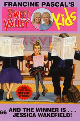 Cover of Sweet Valley Kids 66: And the Winner Is...Jessica Wakefield!  The series title has that circle in the middle again, with the twins' faces.  The rest of the cover shows Jessica sitting on a bench inside a radio station (you can see the letters KSVR behind her.  Jessica is wearing a red and black plaid dress with very puffy sleeves, black nylon tights, and black high-heeled shoes that are too big for her.  Her hair is piled in a messy bun on top of her head and she's looking nervously at the person to her right.  On either side of her is an adult reading a newspaper that completely covers their face.