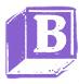 The purple B block from the Babysitters Club Netflix logo.