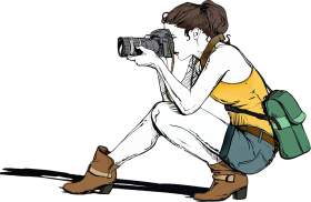 Clip art of a photographer facing left, crouching down so they're sitting on one heel, with the other foot stretched forward. Both feet are covered in brown ankle boots with heels. The photographer is wearing a mustard-yellow tank top and blue jean shorts, and has a dark green messenger bag hanging against their back. Their dark brown hair is in a low messy bun.