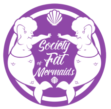 Logo of the Society of Fat Mermaids. A purple outer circle surrounds a filled purple inner circle. In the center are the words Society of Fat Mermaids in white. At the top of the inner circle is a white seashell. There is a smaller, upside-down seashell under the society's name. To the left and right of the inner circle are a pair of large merfolk with their tails and left arms stretched toward each other.