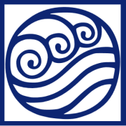 Water symbol from Avatar: the Last Airbender. A dark blue square surrounds a dark blue circle with three swirls at the top and three curving lines at the bottom.