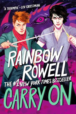 Cover of Carry On, by Rainbow Rowell. Two young men stand, side by side, facing the reader, in front of a dark purple dragon with a deep magenta eye. The young man on the left has short reddish-brown hair, pale skin, and is wearing a red scarf over a grey suit jacket and blue jeans. In his right hand, he's holding a long, thin sword horizontally across his chest, with the point just ending at the other man's left shoulder. The young man on the right has shoulder-length, wavy black hair, pale skin, and is wearing a greyish-lavender dress shirt with a v-neck and rolled-up sleeves over black dress pants.