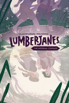 Cover of the Lumberjanes original graphic novel, The Infernal Compass. The series title is in dark brown in the middle of the cover, with the subtitle inside a long, thin hexagon. It's like a pencil with two points. Above the title, we see the lower torso and legs of two girls taking long strides through a forest. They both wear cargo-type pants, and the girl in front wears a dark red top with an olive-green vest jacket. Below the title is a pond showing a reflection of the girls. The one with the red shirt has pale skin and short dark hair that's buzzed on one side and flops almost to chin-length on the other. She's looking back lovingly at the other girl, whose long blond hair is tied back in a single braid. She's wearing one of those old-timey raccoon-tail hats...but don't worry, the raccoon is actually still alive, even though he's not showing it at the moment. The girls are holding hands, arms lifted up so their hands are at shoulder-level. It's all totally aww-dorable.