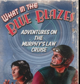 Close-up of a mock pulp sci-fi cover that has a dark blue background with a white haze and a faded image of a radar screen. The title, in red and white type, says