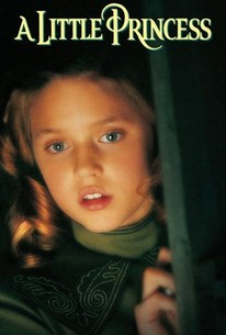 Cover of A Little Princess, the movie.  A girl with large, light brown corkscrew curls peeks through a slightly-open doorway.  You just see her lit-up face and the green edge of the door.  She has a cautiously curious expression on her face, with her lips slightly apart and her eyebrows slightly raised.