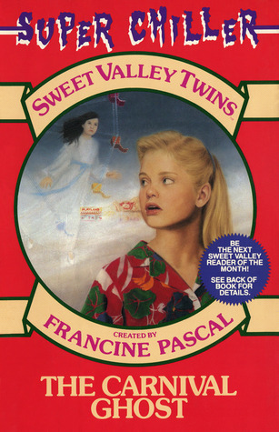 Cover of Sweet Valley Twins: The Carnival Ghost.  The cover is red, and the words Super Chiller sit at the very top in a jagged purple font, each letter shadowed in white.  A manilla ribbon curves over a large circle that shows a spooky scene.  Inside the ribbon are the dark pink words: Sweet Valley Twins  Inside the circle, you see Elizabeth, with her blond hair pulled back in a barrette, facing the viewer but her head is turned slightly to look over her right shoulder.  She looks vaguely concerned, maybe a little dazed.    She's wearing a dark red Christmas sweater with dark green patches and two orange tassels near the neckline.  Behind her, shrouded in fog, you can see bits of a carnival, such as booths and part of a Ferris Wheel.  In front of the Ferris Wheel floats a ghostly girl with long dark hair, pale skin, and an old fashioned white dress with long sleeves.  Under the circle, another manilla ribbon curves upward, with the dark pink words: Created by Francine Pascal.  Below that, against the red background of the cover, are the manilla words: The Carnival Ghost.