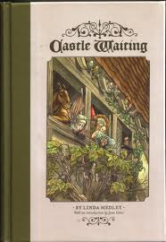 Cover of Castle Waiting, Volume One.  The cover is a pale beige with a dark olive stripe down the left side.  An inset image in the middle of the cover shows the side of a castle, with ivy growing around a trio of windows and a number of characters peeking out at the reader.  There's a horse, a nun, and three women with fancy medieval hats -- one is a tall red cone, another is wide and white like a hammerhead shark's head, another is like a chef's hat or a soufflé.