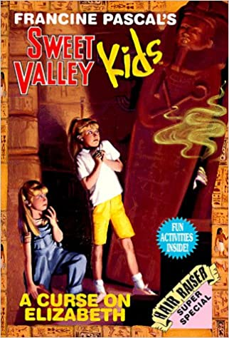 Cover of Sweet Valley Kids Super Special: A Curse on Elizabeth.  Two blond-haired girls are staring in terror at a standing Egyptian coffin, which is leaning slightly against the right edge of the cover.    The girl in front wears her hair in a ponytail, and is wearing a white t-shirt and yellow shorts.  She's standing, leaning back, and squeezing her fists together in an upside-down V against her chest.  The girl behind her has her hair down and is wearing a pair of blue jean overalls.  She's kneeling on her right knee, and her right arm hangs down while her left hand touches her chin nervously.  The coffin is slightly ajar and there's yellow smoke wafting out, plus a few creepy white fingers curling around the edge.