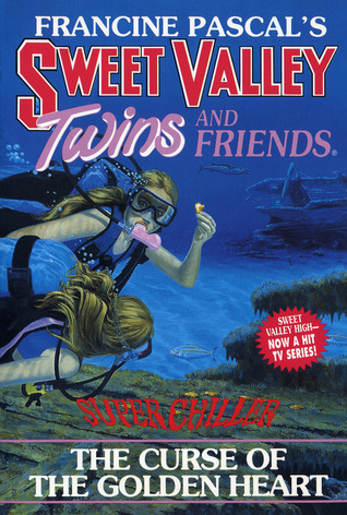 "Cover of Sweet Valley Twins and Friends Super Chiller: The Curse of the Golden Heart.  Liz and Jess are scuba diving near a shipwreck.  One of the twins, facing the audience, holds up a small golden heart with her left hand.  She's swimming slightly on top.  The other twin, below her, has her back slightly turned toward us and is looking down at the ocean floor at the red words ""Super Chiller.""  They're both swimming out from the left edge of the book cover, and you can only see their heads, arms, and torsos."