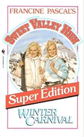 Cover of Sweet Valley High Super Edition: Winter Carnival.  The cover is white, with the red Sweet Valley High logo curving around a circle in the middle of the cover, which shows a snowy mountain scene.  In front of the mountain are the Wakefield twins, one with her wavy blond hair down to her shoulders and the other with her blond hair pulled back.  The former, Jessica, is wearing a white snow jacket and holding a dark pair of skis, while the latter, Elizabeth, wears a baby blue sweater with white around the end of her sleeves and around her tall, rolled collar.  Liz has her left arm bent and her fist clenched in front of her chest in a casual, cheerful way.  They're both smiling seductively at the audience.