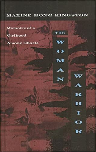 Cover of Woman Warrior, by Maxine Hong Kingston.  The entire cover is a deep rusty red, with the title split into three blocks, the first word a horizontal black rectangle and the other two in tall vertical rectangles.  The subtitle says Memoirs of a Girlhood Among Ghosts, and there's a faded image of what looks like a painting of a woman with her hair flying to the left and her right arm stretched upward.  This image is repeated at the top and bottom of the cover.