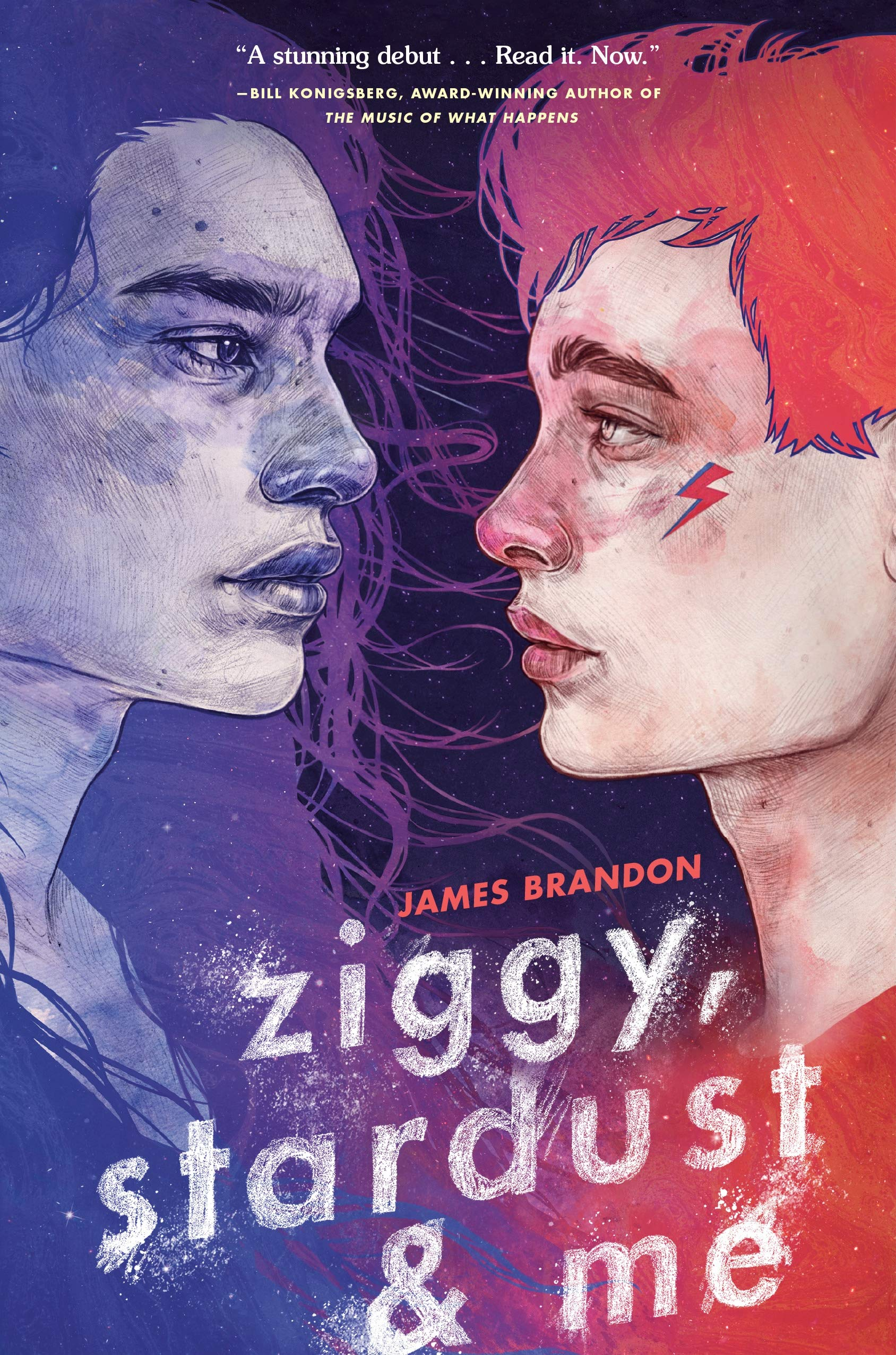 Cover of Ziggy, Stardust & Me, by James Brandon.  Two young men stare at each other.  On the left is an indigenous American man shaded in blue-grey tones, and on the right is a young man with pale peach skin, bright red hair, and a bright red top.  He also has a small red lightning bolt on his cheekbone, between his left eye and his hairline.  Both men look very serious.