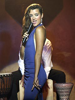 "Screenshot of Ziva, played by Cote de Pablo, singing ""Temptation.""  She's turned to the side, facing left, her head turned to look over her left shoulder.  Her long, wavy black hair is swept over her right shoulder and she's wearing a skin-tight sleeveless dress in dark blue.  You see one long white earring dangling from her left ear."