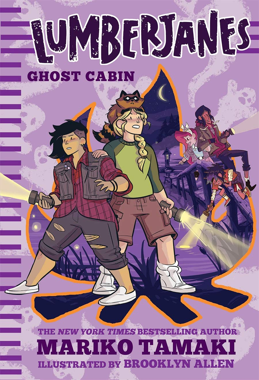 Cover of the Lumberjanes middle-grade novel, Ghost Cabin, by Mariko Tamaki, illustrated by Brooklyn Allen.  The cover is violet, with a pattern of simple white ghosts all over.  They look kind of like thumbprints with bumps for arms and violet eyes and mouths.    In the middle, taking up most of the cover, is a cut-out campfire with a bright orange border.  Inside, as though you're looking through a window, you see a dark purplish lake at nighttime, with a crescent moon shining overhead.  Stepping out of the campfire, on the left side, are two girls facing the viewer.  They're both holding flashlights -- the girl on the left is pointing hers upward while the girl on the right is pointing hers down.  The first girl has a partially shaved head, with the rest of her wavy black hair flopping over the right side of her head.  She's wearing a red plaid long-sleeved top and a grey vest over ripped grey capris and white slip-on flat shoes.  The other girl has a long blond braid draped over her left shoulder.  She has a spooked-looking brown raccoon on her head and is wearing a two-toned green long-sleeved shirt with a bright green torso and darker green sleeves.  She's also wearing knee-length dark brown cargo shorts and white high-top sneakers.  On the upper right side of the campfire are three other girls, shrunk to a smaller size because they're not the stars of this book.  There's Jo, with the shoulder-length dark brown hair; April, with the white bow in her long red hair; and Ripley, with the blue streak in her short, spiky dark brown hair.  They're all holding flashlights and looking around with scared and/or fascinated expressions.