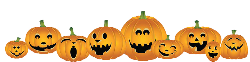 Pumpkin patch clipart, showing a row of nine grinning Jack-o-lanterns.