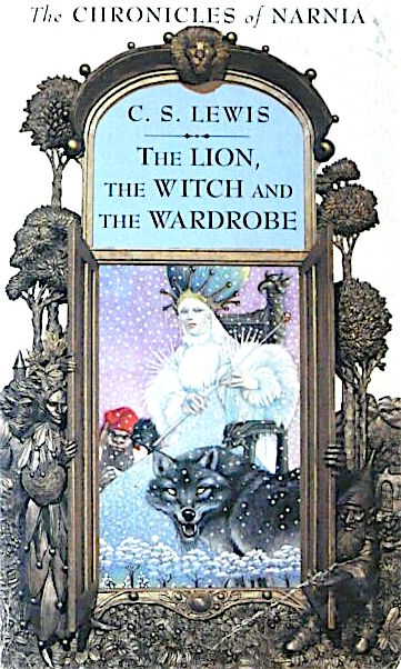 Cover of The Lion, the Witch, and the Wardrobe, by C. S. Lewis.  Against a white background, you see a large archway made of dark bronze trees, a tall faery creature on one side and a short gnome on the other.  In the middle of the arch is an open doorway.  Inside, you see a very pale, larger-than-life woman with long white hair and a white fur dress with spikes on the shoulders.  She wears a crown made of stalks that stick out vertically, with small spheres at the end of each, and there's what looks like a giant green balloon coming out of her head.  She's sitting on a chair carved with goblin or gryphon faces, and she's holding a long, thin staff.  Next to her, closer to the foreground, is a wolf that glares at the viewer with tiny yellow eyes.  On her other side is a small gnome or elf with a red hat.  This being looks angry.  Behind them is a purple sky full of snow, and below them is a tiny line of snow-covered trees.