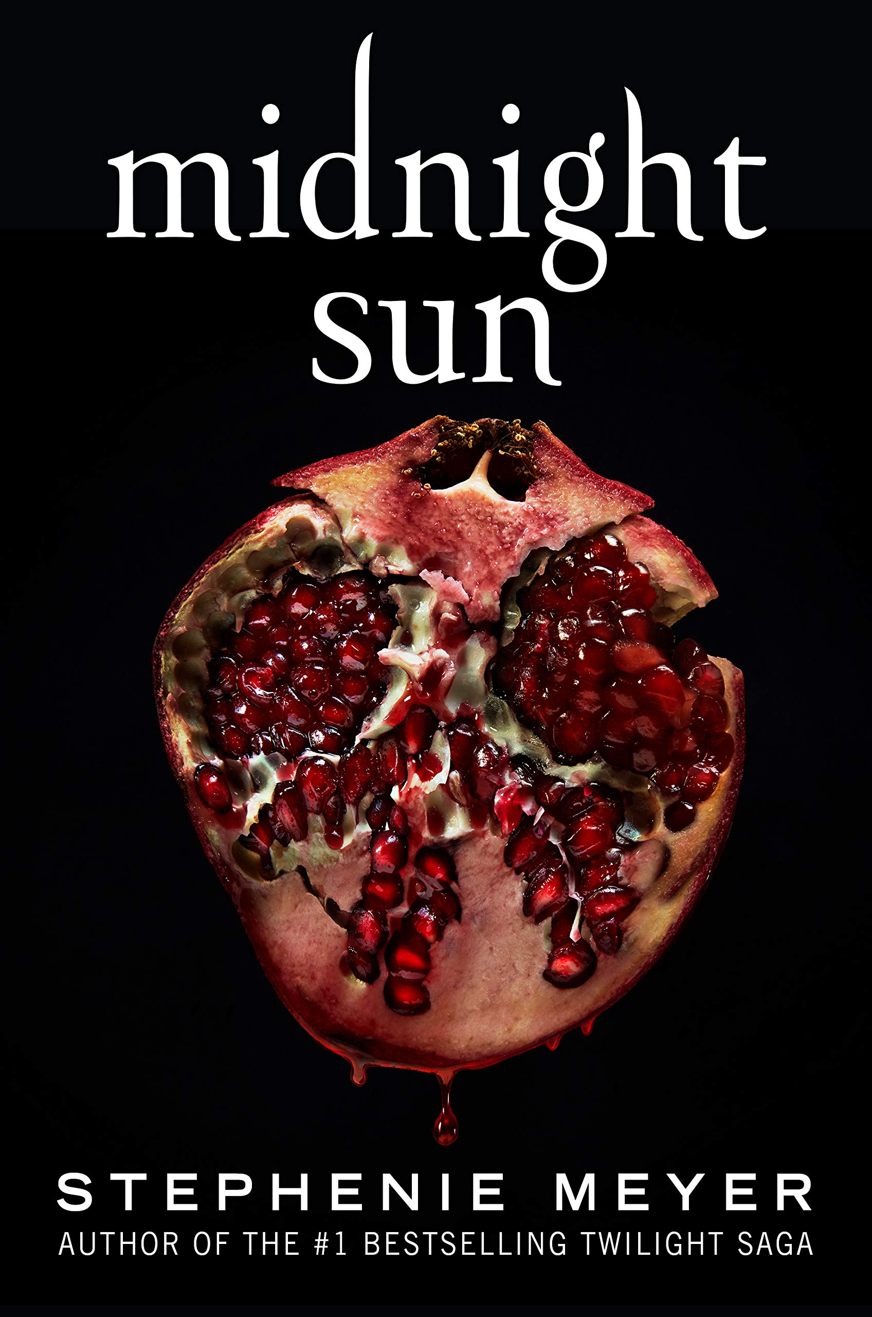 Cover of Midnight Sun, by Stephenie Meyer.  The cover is all black except for the white title at the top and author's name at the bottom, and a giant cross-section of a pomegranate in the center.
