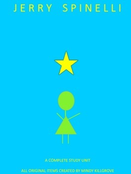 Cover of Stargirl, by Jerry Spinelli.  The background is a solid bright blue.  In the center, instead of the title, there is a yellow five-pointed star over a green stick figure of a girl.