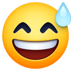 Sweat drop emoji - a yellow smiley face with a large, toothy grin; eyes closed in an upside-down V shape; and a drop of sweat next to one eye.
