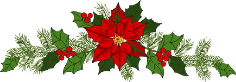 Clipart of a large poinsetta with sprigs of holly, ivy, and fir tree needles stretching out on either side.