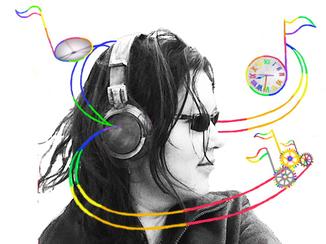 A black-and-white photo of my face turned to your right.  I'm wearing a large pair of vintage steampunk headphones that look purposely rusted and tarnished.  Swooping out of the earpiece are rainbow tracks with musical notes riding on them.  Three of the notes, clustered together, look like gears.  Another one looks like a clock, and a third just has vague clock-like shadows.