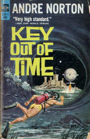 Key Out of Time, by Andre Norton.  The cover shows a scuba diver passing through a water tunnel, nearly reaching the circular exit.  Through the exit, you see a beachside castle with a spherical spacecraft rising out of the water and a very small moon or large star shining in the pitch black sky.