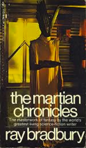 The Martian Chronicles, by Ray Bradbury.  The cover shows a very vague alien figure with a featureless V shaped head and a long yellow tunic with long sleeves and squared shoulders.  Behind this figure is what looks like a set of glass doors looking out onto a bright yellow mist.