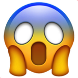 Scream Face emoji.  The top half of the face is blue, the eyes are blank white, and it has two hands pressed against its cheeks.